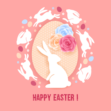 Happy Easter greeting card template. Stylized and plain graphic design. Illustration