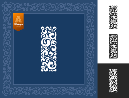 Letter I from ornate unusual alphabet. Can be use as initial letter, monogram, logotype and any other designs. Isolated on black and white background. Variant with frame. Vector illustration.