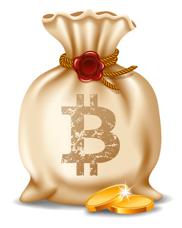 Bitcoins in bag. Digital currency. Cryptocurrency. Beige canvas bag with bitcoin symbol and golden coins. Isolated on white background. Virtual money concept. Vector illustration.