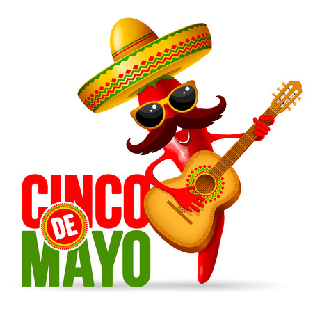 Cinco de Mayo design with lettering, and cheerful red pepper jalapeno mariachi in sombrero and with decorated guitar - symbols of holiday. Isolated on white background. Vector illustration.