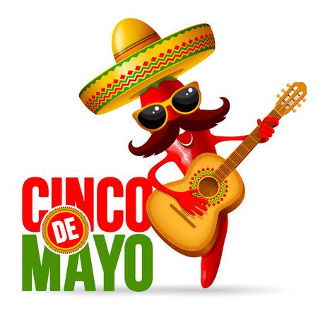 Diseño del Cinco de Mayo con letras y alegre pimiento rojo jalapeño mariachi en sombrero y con guitarra decorada - símbolos de vacaciones. Aislado sobre fondo blanco Ilustración vectorial