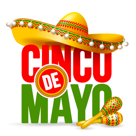 Cinco de Mayo emblem design with lettering, sombrero and maracas - symbols of holiday. Isolated on white background. Vector illustration.