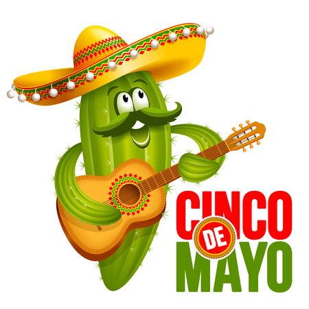 Cinco de Mayo emblem design with lettering, and cheerful green Mexican cactus wearing sombrero, which playing guitar - symbols of holiday. Isolated on white background. Vector illustration.