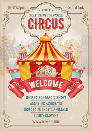 Vintage Circus advertising poster with big circus marquee. Elegant title, retro background and space for your text. Vector illustration. Vettoriali