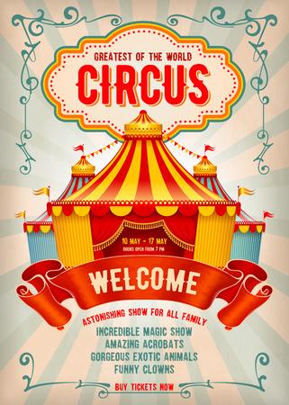 Affiche publicitaire ou dépliant vintage de cirque avec grand chapiteau de cirque. Titre élégant, fond rétro et espace pour votre texte. Illustration vectorielle.