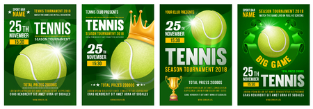 Set of tennis posters with tennis ball. Tennis tournament advertising. Sport event announcement. Place your text and emblems of participants. Vector illustration.  Illustration