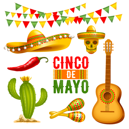 Cinco de Mayo lettering design and elements set. Vector illustration.
