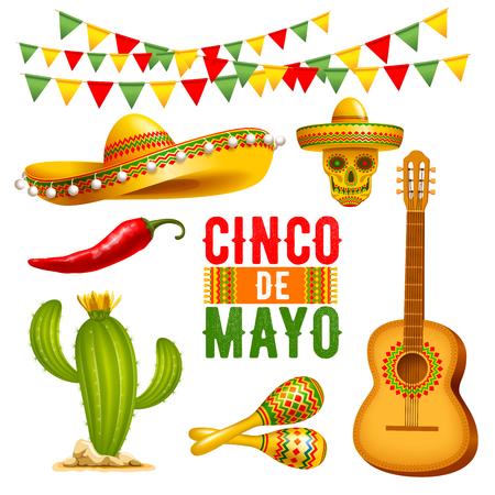 Cinco de Mayo lettering design and elements set. Vector illustration.