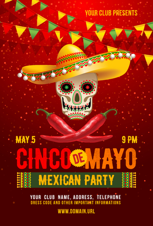 cinco de mayo poster or flyer design template with cheerful