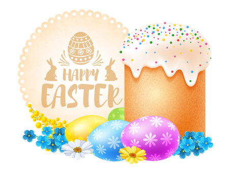 Realistic Easter cake, colored eggs and spring flowers. Isolated on white background. Vector illustration. Illustration