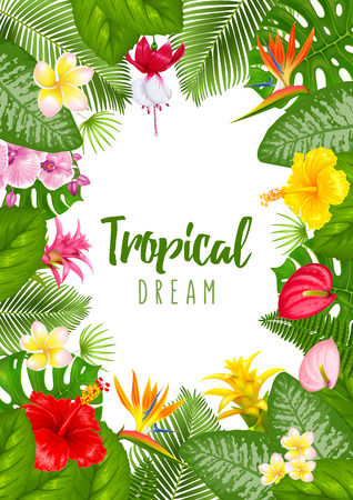 Summer tropical frame design for banner or flyer with exotic leaves and flowers. Vector illustration. Isolated on white background. Stock Vector - 97071118