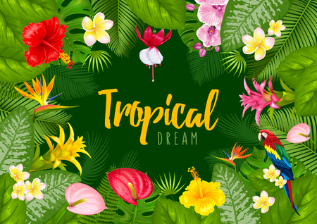 Summer tropical frame design for banner or flyer with exotic leaves and flowers. Vector illustration.
