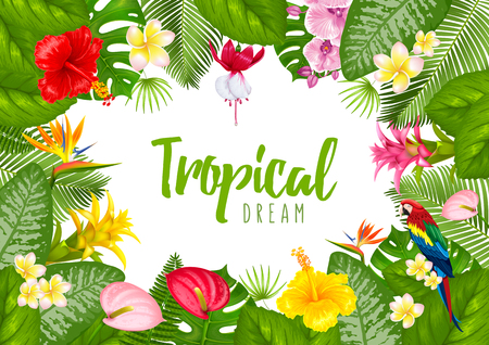 Summer tropical frame design for banner or flyer with exotic leaves and flowers. Vector illustration. Isolated on white background.