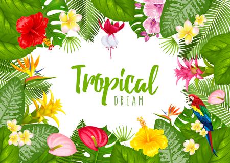 Diseño tropical del marco del verano para la bandera o el aviador con las hojas exóticas y flores ilustración . vector aislado en el fondo blanco . Foto de archivo - 97043358