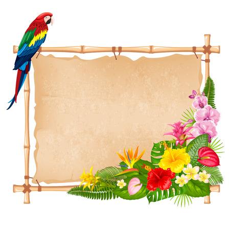 Conception de fond tropical d'été pour bannière ou dépliant avec des feuilles exotiques, des fleurs et des perroquets d'oiseaux. Illustration vectorielle. Isolé sur fond blanc. Vecteurs
