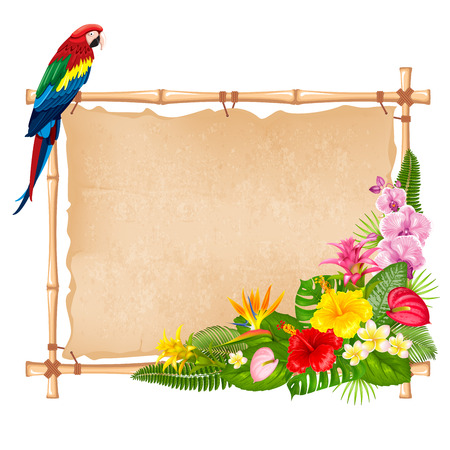 Summer tropical background design for banner or flyer with exotic leaves, flowers and bird parrot. Vector illustration. Isolated on white background.