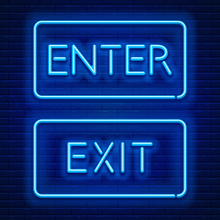 Blue neon light glowing sign Enter and sign Exit against a brick wall background. Vector illustration.