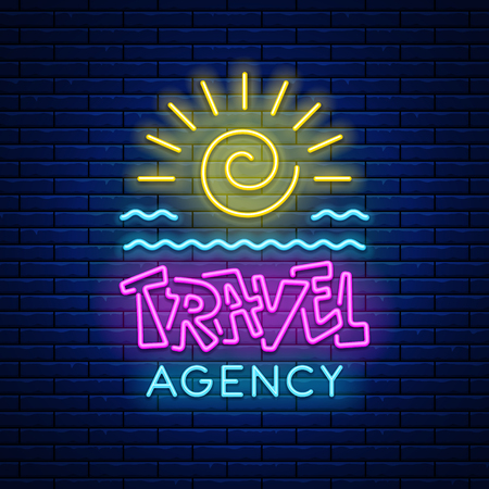 Colored neon light glowing sign Travel agency with sun and sea waves against a brick wall background. Vector illustration.