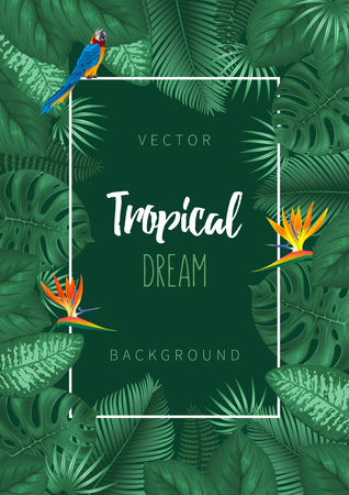 Summer tropical background design with frame for your text, parrot ara and exotic leaves and flowers. Vector illustration.  Stock Illustratie