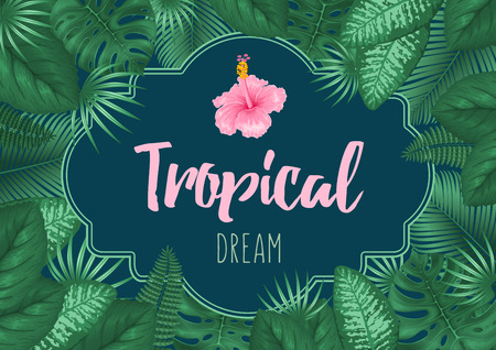 Summer tropical background design with frame for your text, exotic leaves and hibiscus flower. Vector illustration.  Ilustração