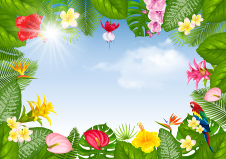 Summer tropical frame design with bright exotic leaves and flowers on blue sunny sky background. Vector illustration.