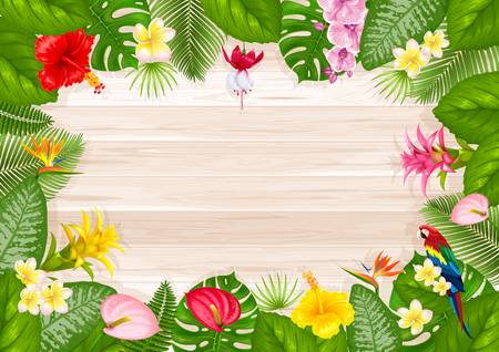 Summer tropical frame design with bright exotic leaves and flowers on wooden boards background. Vector illustration.