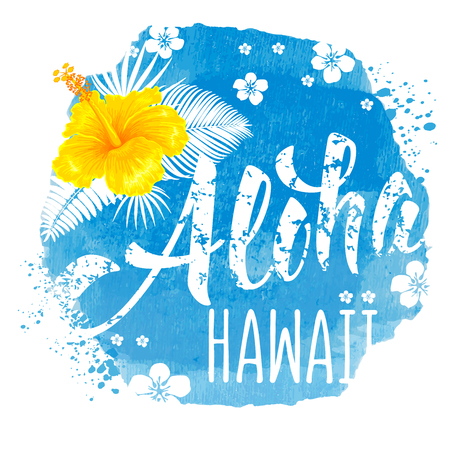 Aloha Hawaii hand drawn lettering and hibiscus on blue watercolor backdrop. Hawaiian language greeting. Vector illustration. Isolated on white background.