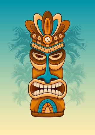 Tiki tribal wooden mask. Hawaiian traditional elements. Silhouettes of palm tree on background. Vector illustration.