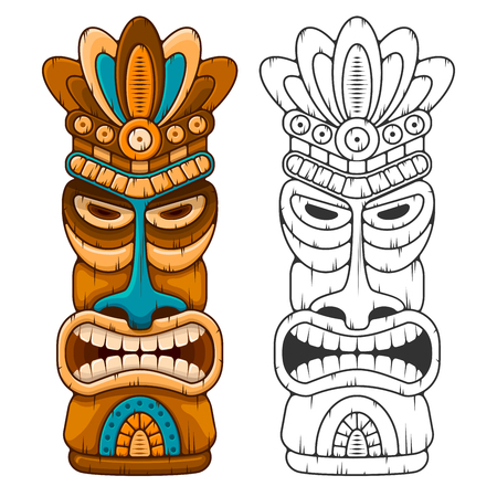 Tiki tribal wooden mask. Hawaiian traditional elements. Colored and black and white silhouette. Isolated on white background. Vector illustration.