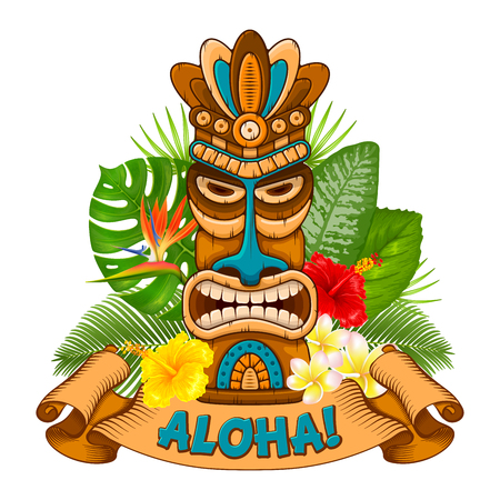 Tiki tribal wooden mask, tropical exotic plants and signboard of bar. Hawaiian traditional elements. Isolated on white background. Vector illustration. Vectores