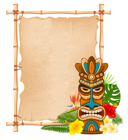 Tiki tribal wooden mask, tropical exotic plants and bamboo signboard. Hawaiian traditional elements. Isolated on white background. Vector illustration. Иллюстрация