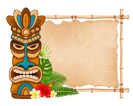 Maschera tribale in legno Tiki, piante esotiche tropicali e insegna di bambù. Elementi tradizionali hawaiani. Isolato su sfondo bianco Illustrazione vettoriale