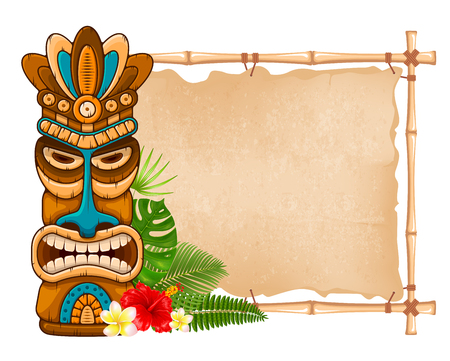 Tiki tribal wooden mask, tropical exotic plants and bamboo signboard. Hawaiian traditional elements. Isolated on white background. Vector illustration. Stock Illustratie