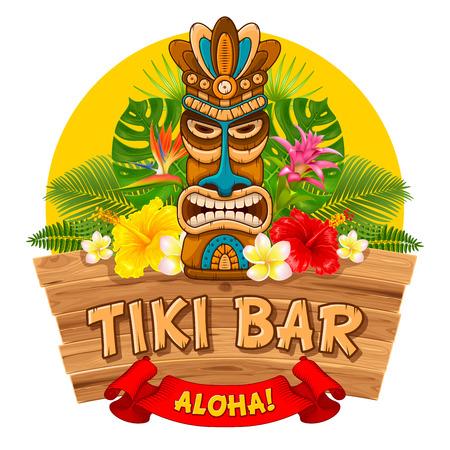 Máscara de madera tribal Tiki, plantas exóticas tropicales y letrero de bar. Elementos tradicionales hawaianos. Aislado sobre fondo blanco Ilustración vectorial
