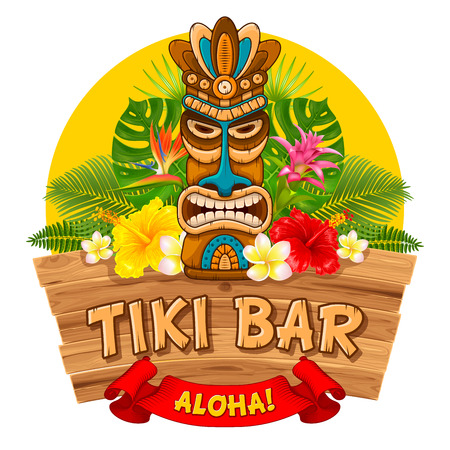 Tiki tribal wooden mask, tropical exotic plants and signboard of bar. Hawaiian traditional elements. Isolated on white background. Vector illustration. Stock Illustratie