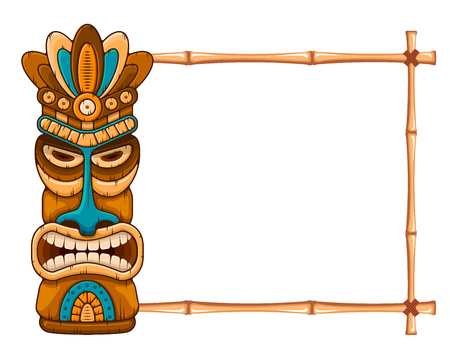 Tiki tribal wooden mask, tropical exotic plants and bamboo frame with place for text. Hawaiian traditional elements. Isolated on white background. Vector illustration.