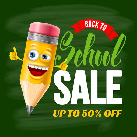 Back to school sale design with cheerful and cute cartoon pencil on chalkboard background. Vector illustration. Illustration