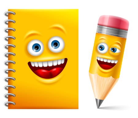 Cheerful notebook and pencil in cartoon style. Vector illustration.
