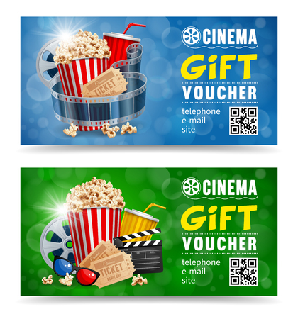 Cinema gift vouchers designs with popcorn and other elements on a movie theme on a blue and green bokeh background. Vector illustration.