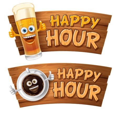 Happy Hour. Weinlesevektorillustration mit Beschriftung und niedlicher fröhlicher Kaffeetasse oder Bierglas auf hölzernem Schild. Auf weißem Hintergrund isoliert.