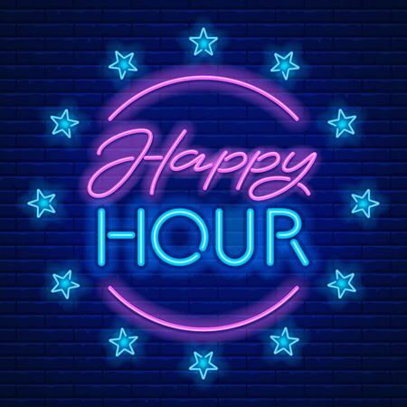 Happy Hour. Realistisch neonteken op bakstenen muurachtergrond. Vector illustratie.