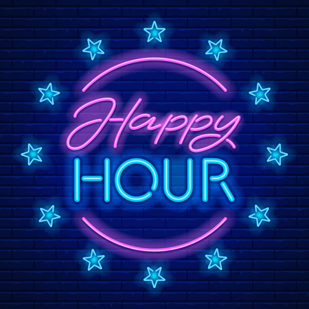 Happy Hour. Realistische Leuchtreklame auf Backsteinmauerhintergrund. Vektorillustration.