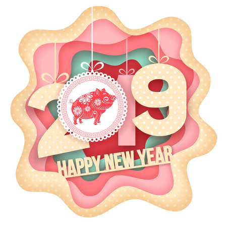Happy New Year greeting. Paper art carving style design with digits 2019 and symbol of the year - pig. Vector illustration. 向量圖像