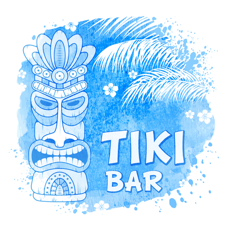 Tiki tribal wooden mask, palm trees on watercolor background. Hawaiian traditional elements, totem symbol. Isolated on white. Vector illustration. Çizim