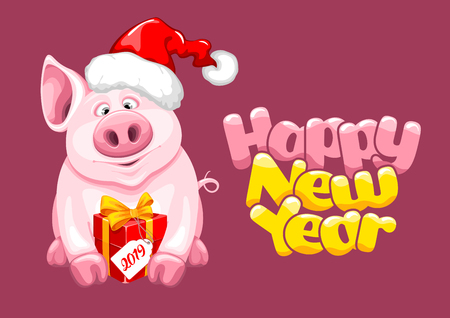 Greeting design with cute cartoon piggy in Santa Claus hat and with gift box, sitting and smile. Symbol of 2019 chinese new year. Fun lettering Happy New Year. Vector illustration. 向量圖像