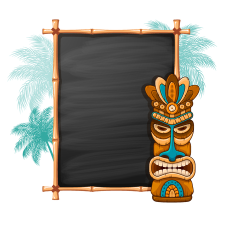 Tiki tribal wooden mask, palm trees and bamboo frame with space for your text. Hawaiian traditional elements, totem symbol. Isolated on white background. Vector illustration.