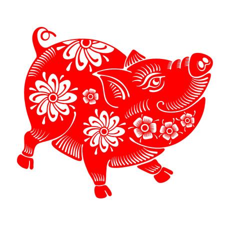 Maiale allegro sveglio, simbolo dello zodiaco cinese dell'anno 2019, isolato su priorità bassa bianca. Illustrazione vettoriale.