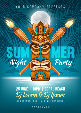 Summer Night party poster design with Tiki mask, bamboo torch and silhouette of the palm leaves, full moon and it reflection in the sea water near the beach. Vector illustration Vectores