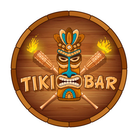 Tiki tribal wooden mask, bamboo torch and signboard of bar. Hawaiian traditional elements. Isolated on white background. Vector illustration.