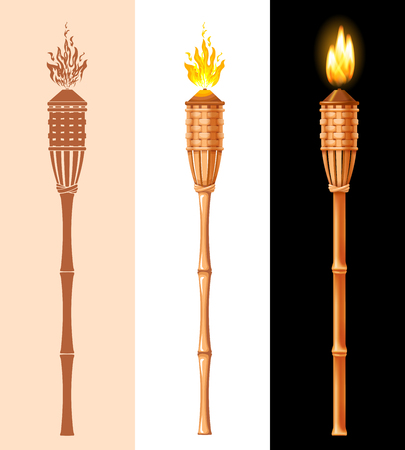 Tiki torch set. Burning beach bamboo torch in different styles, graphic, cartoon and realistic 3D. Vector illustration. Isolated on white background.
